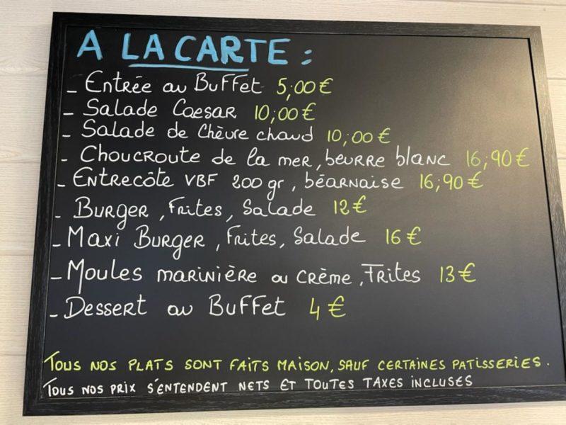 la carte du restaurant Côte & Baie